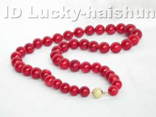genuine 100% natural 14mm round red coral necklace