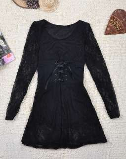 Women Ladys korean fashion LACE see through tunic dress q10658