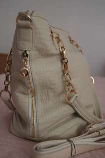 White Womens Genuine Leather Handbag Shoulder Bag