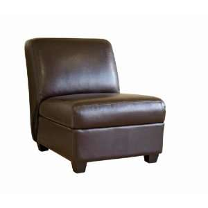 Wholesale Interiors Brown Full Leather Armless Club Chair