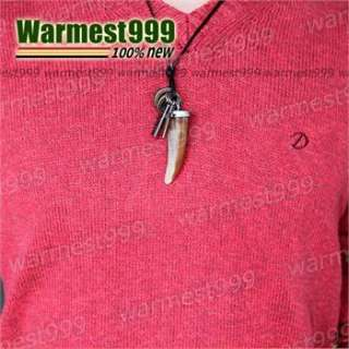 unisex Genuine Mens Leather necklace wolf tooth dog tag pendant choker