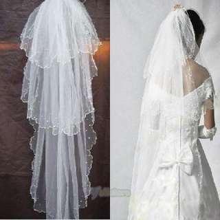 Elegant Three Layer Beaded Wedding Bridal Veil White 3T