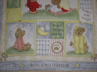 BOYDS BEARS Wishes Come True Baby Boys Blue Crib Blanket Comforter 40