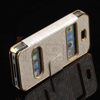 Luxury Synthetic Leather Magnetic Flip Chrome Case Cover for iPhone 4