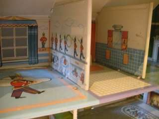 Tin Doll House   Colonial Lithogragh Marx Toys   Girls Playset