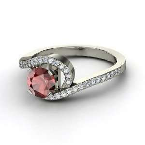 Wave Ring, Round Red Garnet 14K White Gold Ring with