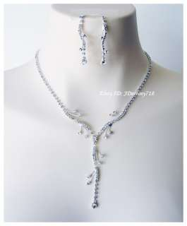 Wedding Bridal Crystal Necklace Earrings Set Prom AB5934