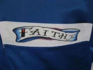 Rockabilly 50s FAITH Tattoo Bright Blue Bowling Shirt M