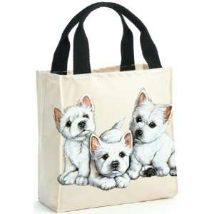Westie West Highland Terrier Puppy Dog Canvas Tote Bag Purse by Leslie
