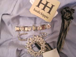 385 Haute Hippie Top Blouse Shirt Cad Blu XS #00077H