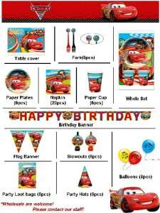Disney Cars 2 Birthday Party Supplies Balloon LootBag Fork Cup Napkin