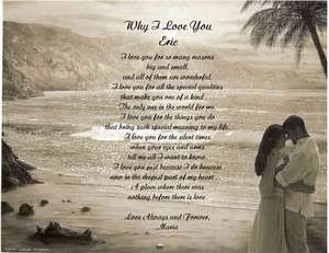 PERSONALIZED POEM WIFE HUSBAND WHY I LOVE YOU 7STYLES