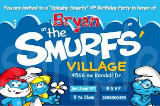 The Smurfs Custom Birthday Party Invitations w/envelope