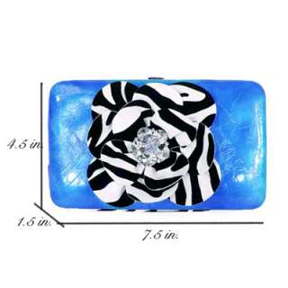 New Fashion Zebra Flower Rhinestone Clutch Wallet  7712
