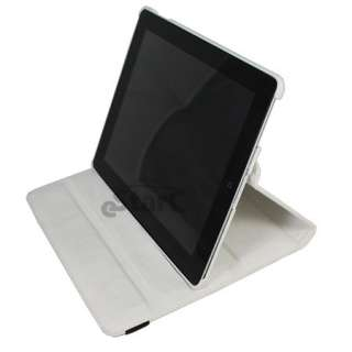 White iPad 2 Magnetic Smart Cover Leather Case Rotating 360 Stand