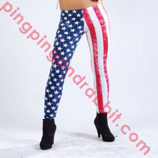 Spandex leggings pants tights American Flag plus size