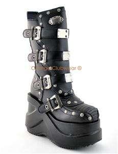 DEMONIA Womens Cyber Goth Punk 5 Platform Boots Shoes