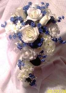 Bridal Bouquet White/Ivory Rose & Rose Bud, Hyacinth/Lilac Cascade