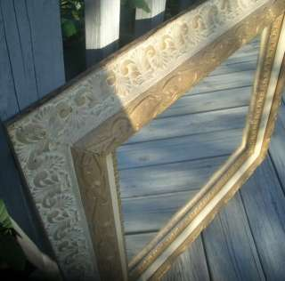 ANTIQUE OLD ORNATE GESSO WOOD PICTURE FRAME WALL MIRROR