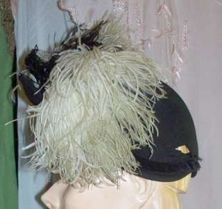 Vintage 1940s Black Felt Tilt Hat with large black and white Feathers
