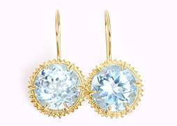 Stunning 10 Carat Blue Topaz and 14K Yellow Gold Dangle Earrings