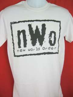 nWo New World Order Black Logo White WCW T shirt New