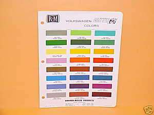 1970 VOLKSWAGEN GLITTER BUG PAINT CHIPS COLOR CHART VW