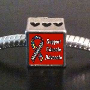 Autism Awareness Ribbon Photo European Bead Cube Charm