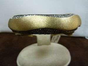 Raymond Hak SS Satin Finish Bracelet Diamond 18K Yellow Gold Plated $