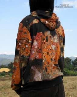 Ladies Lght Hoodie Jacket FineArt Klimt KISS Collage S