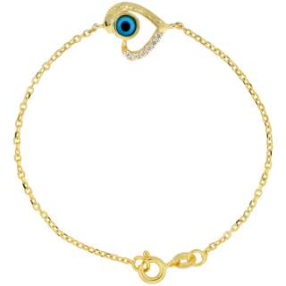 Sterling Silver (Gold Plated) 6.75 in. Cable Link Chain Bracelet w