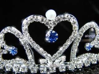 A123 11 Blue Pearl Wedding Bridal Bridesmaid Swarovski Crystal