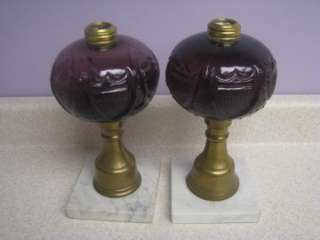 Pair of Rare Whale Oil Fluid Lamps Amethyst Purple Glass & Marble