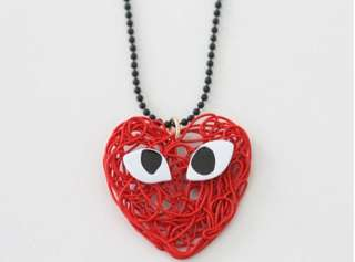 Lovely Red Heart Eyes Black Ball Chain Necklace A52 FREE SHIP