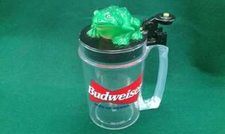 Budweiser Beer Advertising Talking Frog Mug Stein Croak Bud weis er