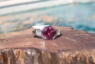 5K Platinum 2.7c Pink Tourmaline Diamond Ring