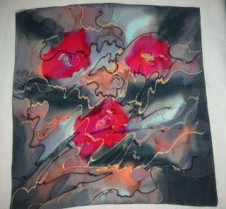 Abstract Floral ART TO WEAR Robert DASKAL Handpainted Silk SCARF
