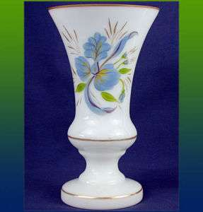 Hand Blown Painted MILK GLASS Vase~Orchids~Gold Accents
