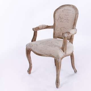Weathered Oak French Scripted Linen Dining Chairs (Sets of 2, 4, 6, 8