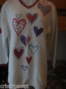 BOB MACKIE Wearable Art WHITE Valentine HEART Applique TUNIC Sweater