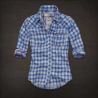 NWT Hollister Bettys Plaid Button Down Shirt Top L NEW