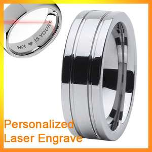 free engrave 8mm new mens grooved tungsten carbide ring