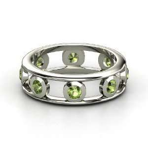 Dot Dash Band, 14K White Gold Ring with Green Tourmaline