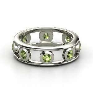 Dot Dash Band, 14K White Gold Ring with Green Tourmaline