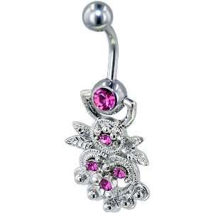 Hot Pink Decorative Heart Gem Belly Button Ring Navel Piercing Bar