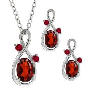 2.08 Ct Genuine Oval Red Garnet Gemstone Sterling Silver