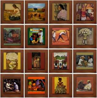 16 Diego Rivera Framed Ceramic Art Tiles Assorted