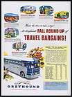 1950 Greyhound Bus Travel Bargains Trip Fares Vintage Print Ad