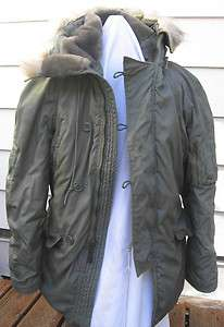 VINTAGE USAF SYNTHETIC FUR WINTER PARKA COAT JACKET N 3B SZ LARGE