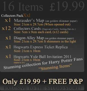 Pack Diagon Alley, Yule ball, Marauders Map, Train ticket etc